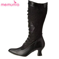 MEMUNIA 2020 new arrival women mid calf boots pointed toe autumn winter boots unique high heels dress party shoes woman
