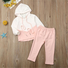 2-piece Sets For Autumn Toddler Kids Baby Girls Withe And Pink Hooded Tracksuit Trousers Outfits Clothing