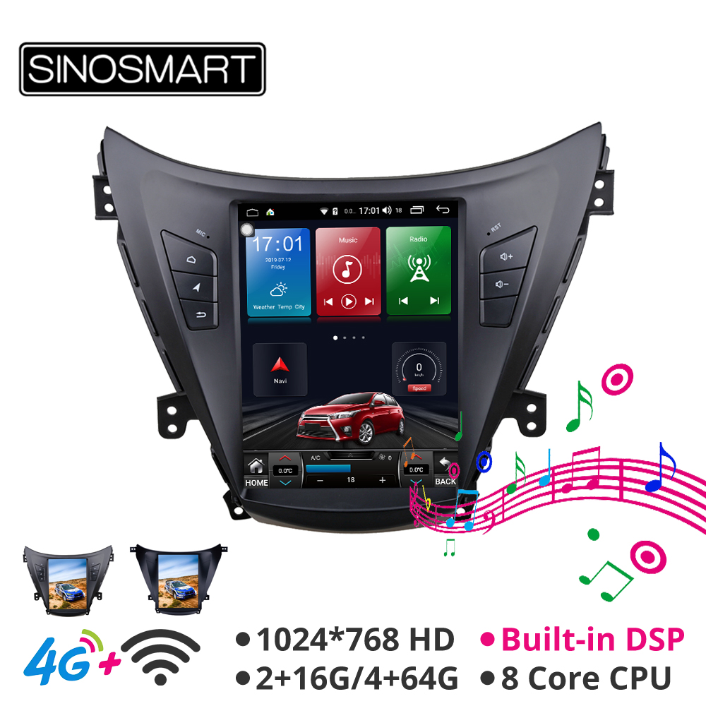 Sinosmart Tesla Style Car Gps Radio Navigation Player For Hyundai Elantra 2012 For Avante Elantra MD I35 For 2011-2013,2014,2015