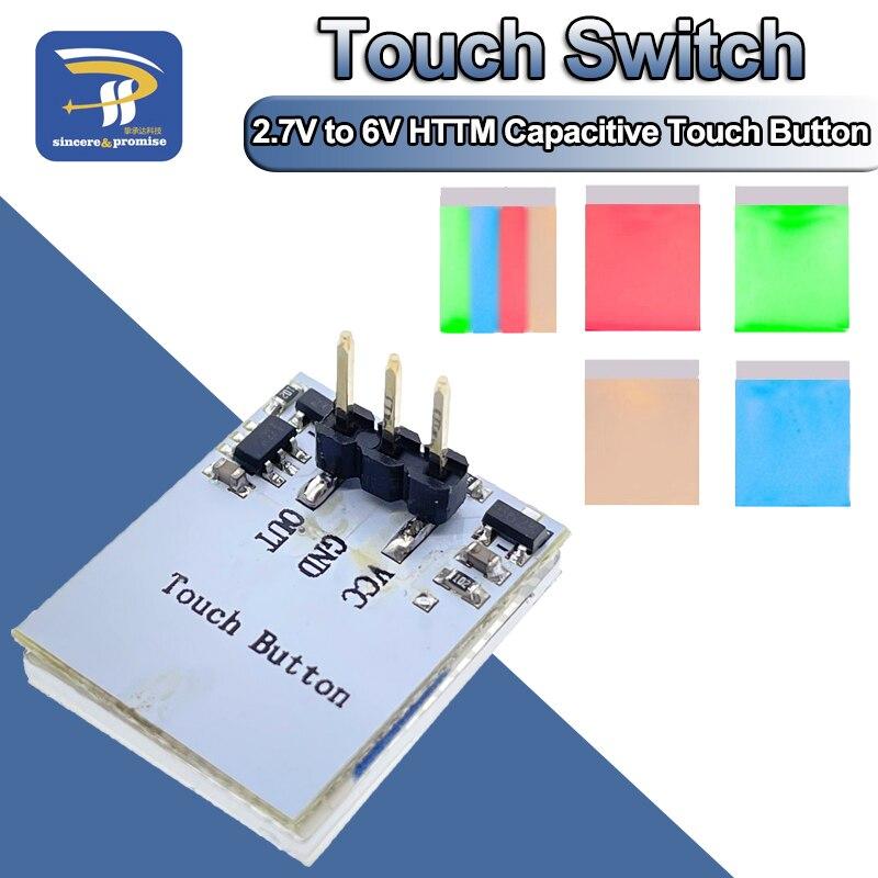 Синяя, красная, зеленая, желтая цветная емкостная Кнопка сенсорного переключателя, RGB-модуль, от 2,7 в до 6 В, защита от помех, яркая фотография