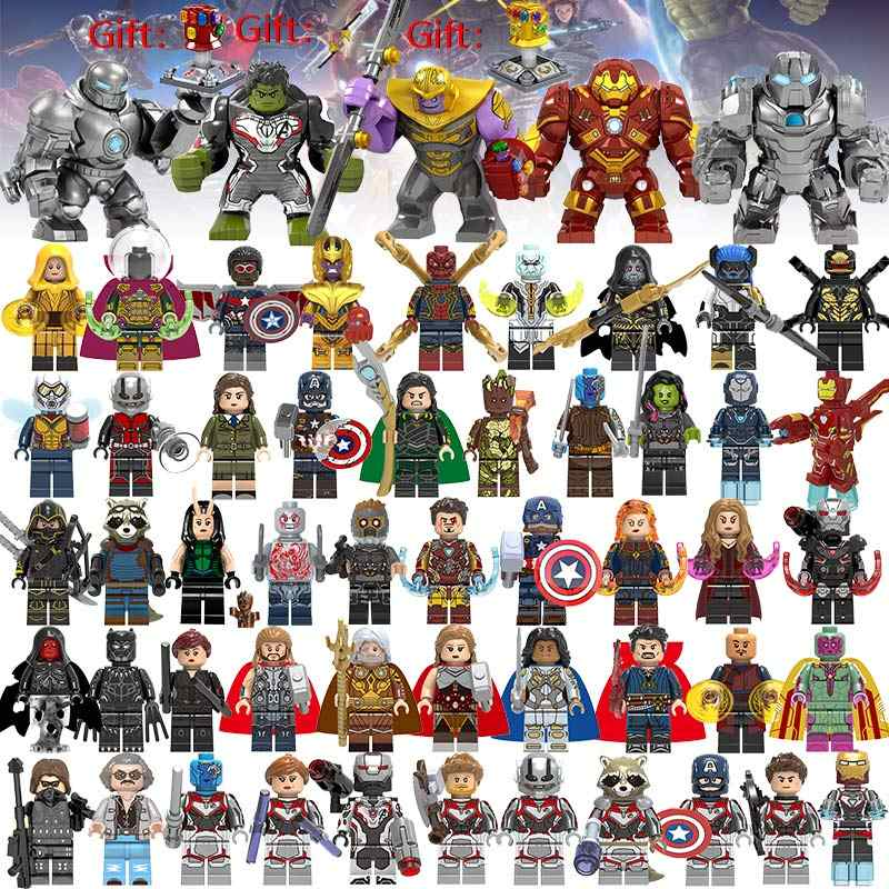 55 pz/lotto Super Heroes Building Blocks lEGOED Marvel Avengers Capitano 4 figure Hulk Spiderman Iron Man Thanos Endgame Giocattoli per bambini