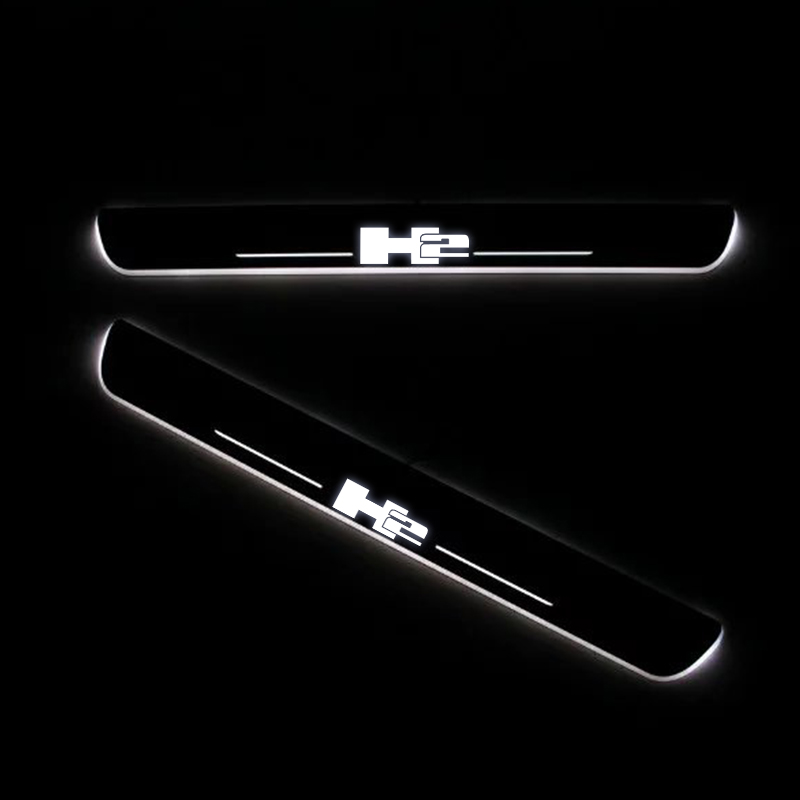 LED Door Sill For HUMMER H2 2002 Door Scuff Plate Entry Guard Threshold Welcome Light Car Accessories