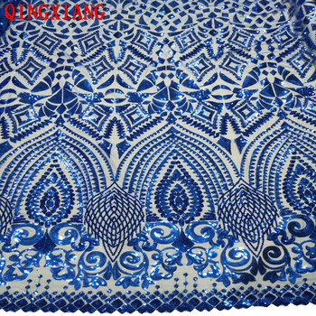 2019 Sequin African Lace Elegant French Embroidered Sequin Mesh Lace fabric Top quality Sewing Material For Wedding Party Dress flower embroidered mesh shoulder top