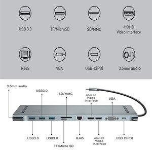 Image 5 - Baseusマルチusb cハブhdmi vga RJ45 3.0 usbハブmacbook proのタイプcハブコンピュータアクセサリー 11 ポートスプリッタusb cハブ