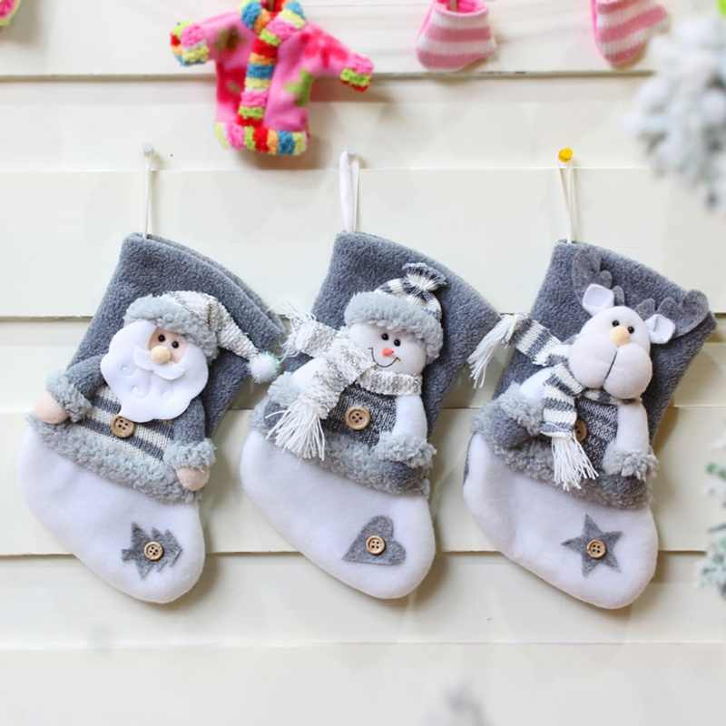 Household Decoration Christmas Stockings Cute Candy Gift Bag Novelty Elk Christmas Decoration