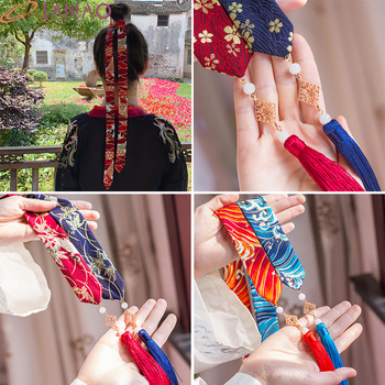 QIANAO Traditional Chinese style headband Head rope Hanfu costume hair rope  Embroidered headdress Red Hair accessories Print hot style chinese style headdress fairy hanfu super fairy children antique style retro tassel ribbon hairpin hair accessories