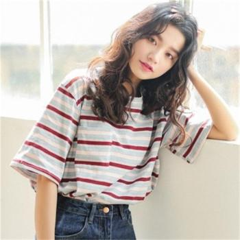 Korean O neck T Shirt Women kawaii pink Striped Tops Harajuku Tshirt Summer Short Sleeve casual