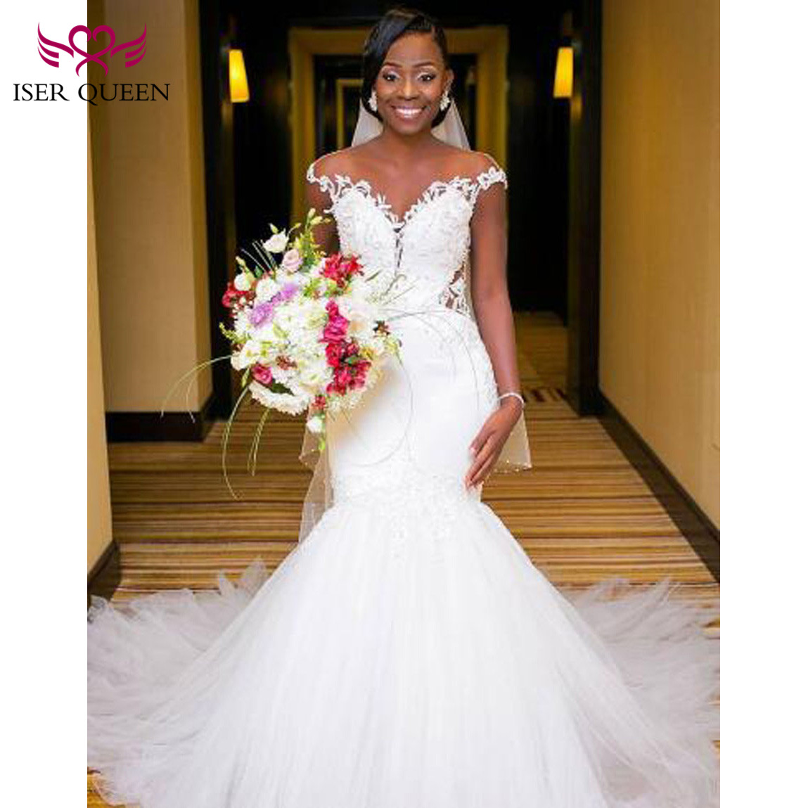 Off Shoulder Delicate Appliques Sexy Backless Hollow African Wedding Dresses Pure White Mermaid Illusion Button Vestido W0360