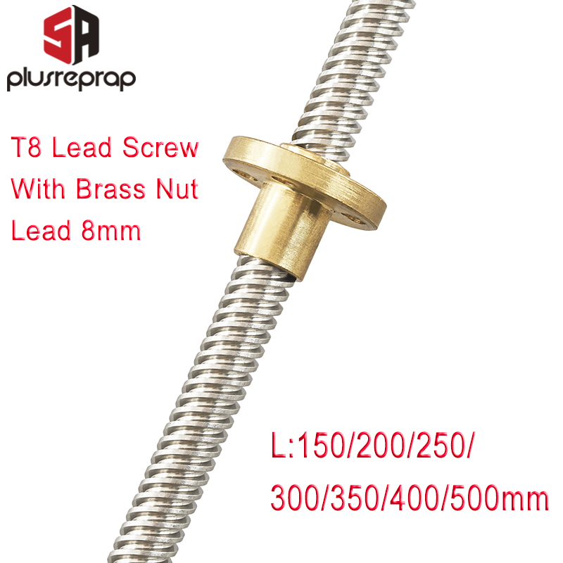 T8 Lead Screw OD 8mm Pitch 2mm Lead 8mm 150mm 200mm 250mm 300mm 350mm 400mm 500mm With Brass Nut For Reprap 3D Printer Z Axis