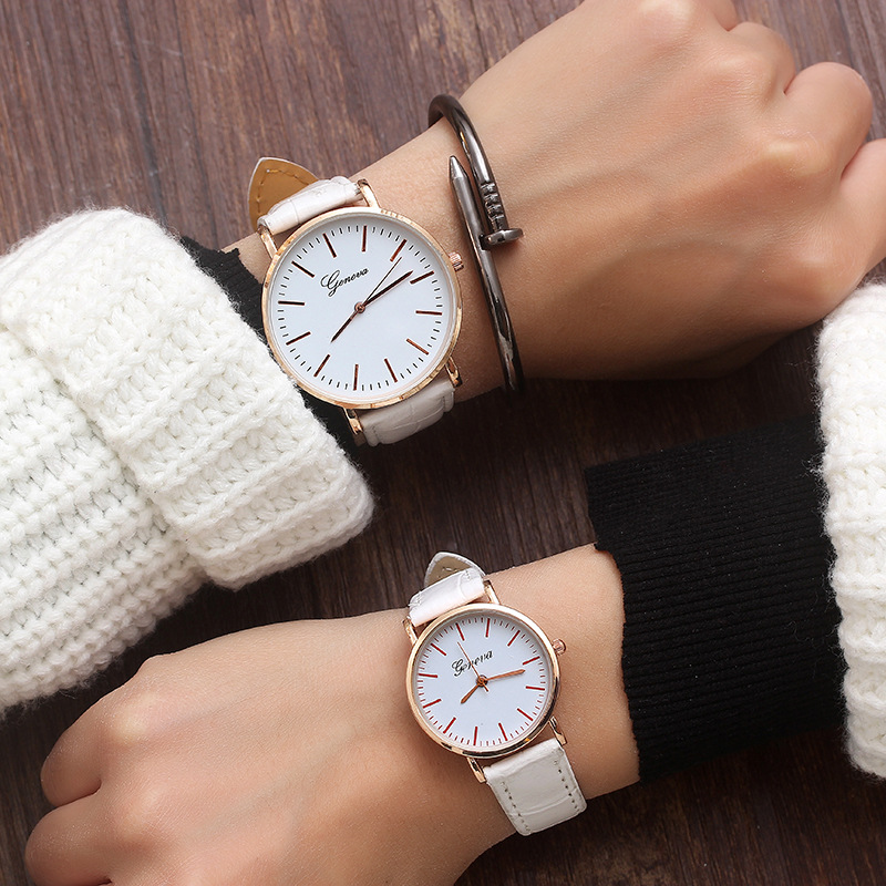 Couple Watches 2019 New Fashion Leather Lover's Watches Simple Couple Watch Gifts  for Men Women Clock Pareja Pair no bangle