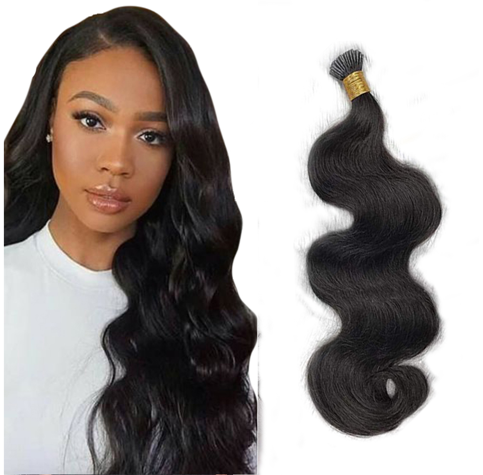 Body Wave I Tip Hair Extensions Microlinks Brazilian Remy Hair Bulk 100% Human Hair Natural Black Color For Women EseeWigs
