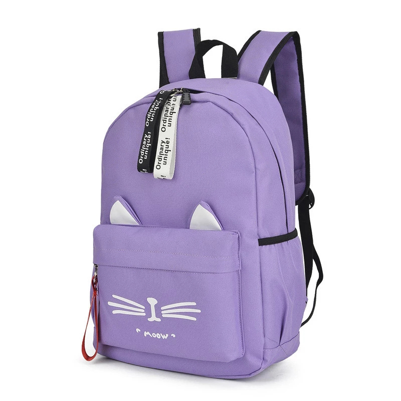 Cute Cartoon School Bags For Teenage Girls Nylon Backpack Schoolbag Women Famale Casual Teen Student Bookbag Cat Ears