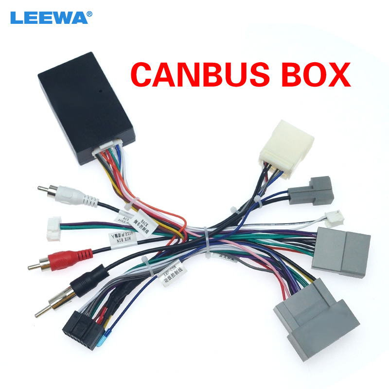 LEEWA Car Audio Radio CD Player 16PIN Android Power Calbe Adapter With Canbus Box For Honda Civic CRV Media Wiring Harness