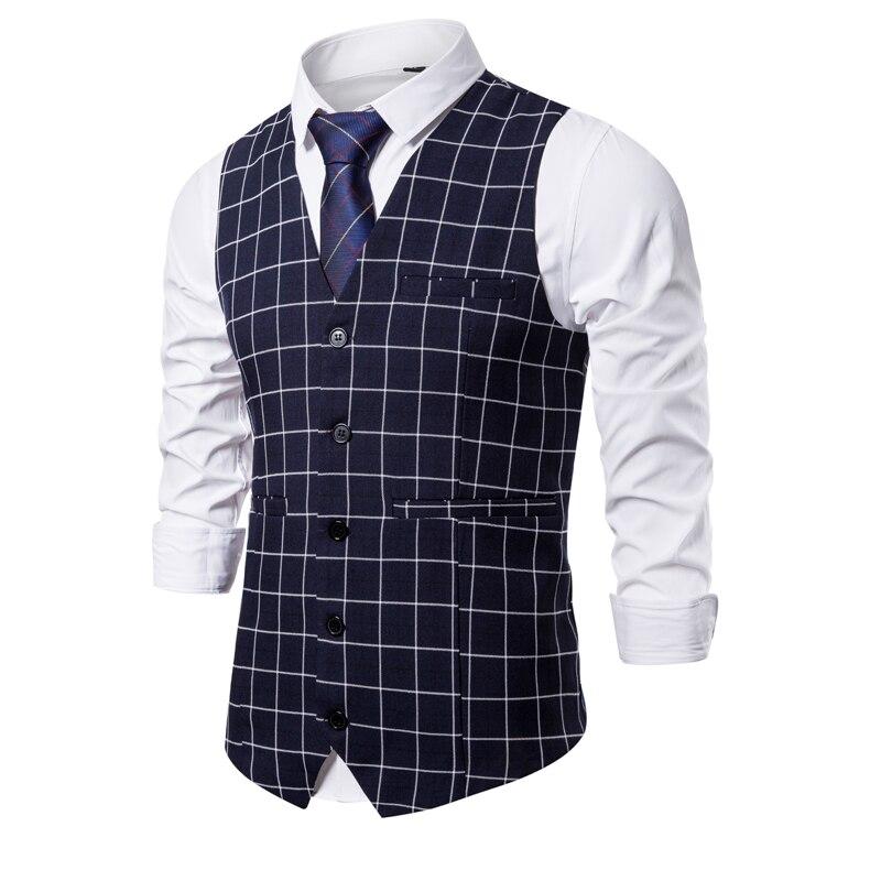 Men Smart Casual Vest 2019 Men Suit Vests Mens New Arrival Lattice Waistcoat Business Vests Men Gentleman Suit Tops S-3XL