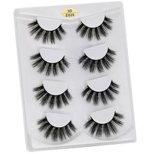 WOMELL 3D Mink Hair 4Pairs False Eyelashes Natural/Thick Long Eye Lashes Wispy Makeup Beauty Extension Tools