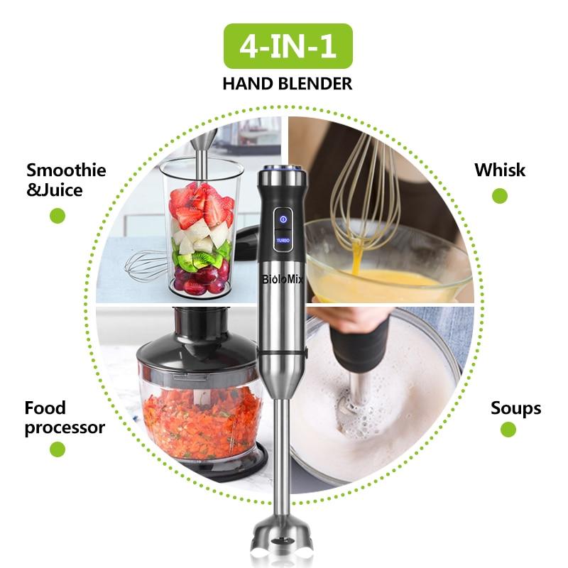 H477d770d77a94d61a53beb49e6aac743l 4-in-1 Stainless Steel 1100W Immersion Hand Stick Blender Mixer Vegetable Meat Grinder 500ml Chopper Whisk 800ml Smoothie Cup