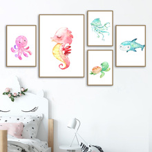 Cute Ocean Animal Turtle Seahorse Octopus Wall Art Print Canvas Painting Nordic Posters And Prints Wall Pictures Kids Room Decor недорго, оригинальная цена