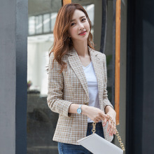 Slim-fit plaid ladies blazer 2019 autumn new temperament long-sleeved shrug womens jacket women Casual office small suit