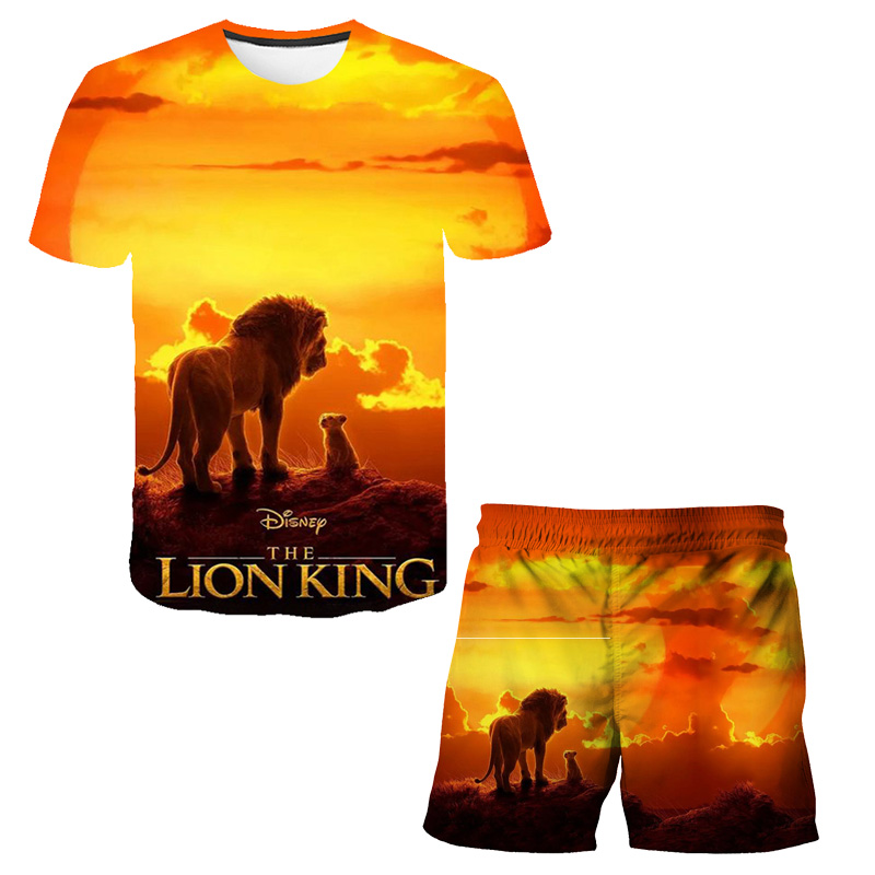 Children's Boy's T-shirt Short Sleeve Set Lion Graphic 3D Printing Animal Boy's Children's Day Winner Cool Costume Rainbow