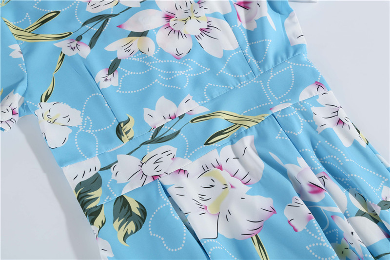 Summer Floral Print Elegant A-line Party Dress Women Slim White Short Sleeve Swing Pin up Vintage Dresses Plus Size Robe Femme 109