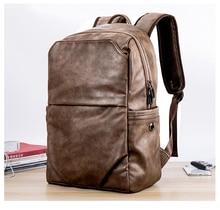 Retro Cool Street Fashion Premium PU Leather Mutilfuctional Backpack Laptop Business Pack Waterproof Durable Mochila