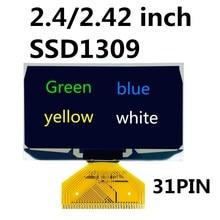 2.42 inch OLED display 128*64 dot matrix SSD1309 driver UG 2864ASGPG14 solder 31PIN Green/blue/yellow/white