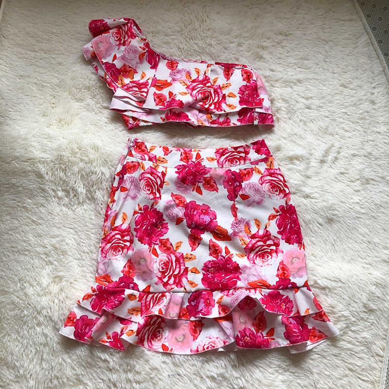 Primavera 2020, conjunto de dos piezas con volantes, monos para mujer, Top corto de un hombro + falda dolce, Mono corto de playa, mono Dolce