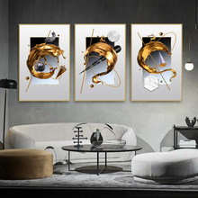 Nordic Canvas Painting Room Decor Metal Wall Art Marble Design Geometric Golden Elk Poster Prints Picture Home Office Decorative