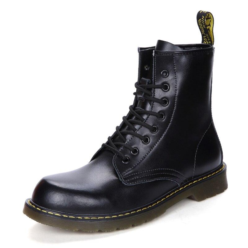 Vastwave Keep Warming Plush New Winter Cow Split Leather Men Boots Lace-Up Fur Snow Boots Motorcycle Ankle Boots Men Shoes