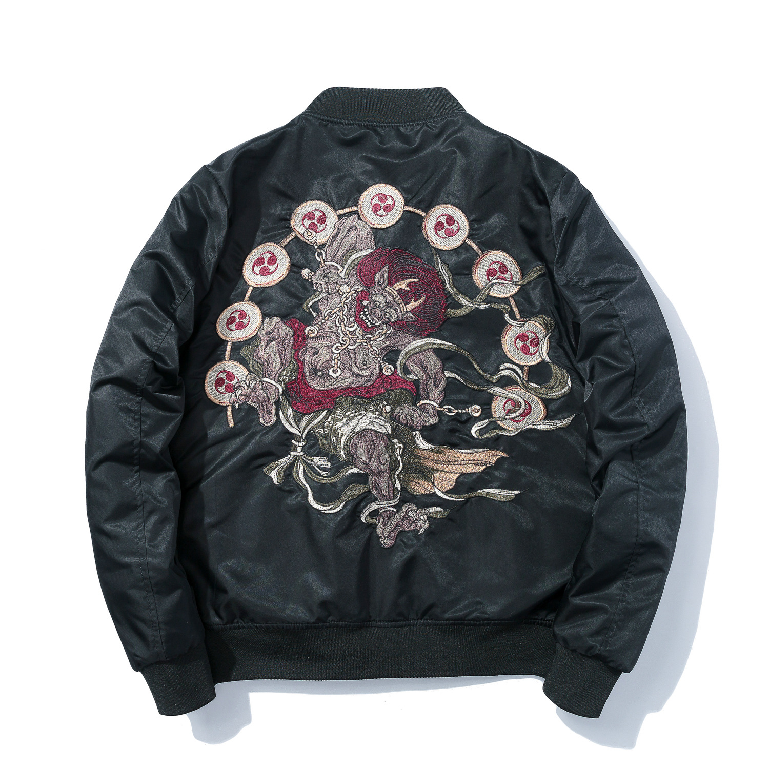 b38a3f8fd US $50.9 |Winter Men Bomber Jacket Japanese Stand Collar Anime Embroidery  Zipper Thick and Thin Polit Jackets Harajuku Style Streetwear-in Jackets ...