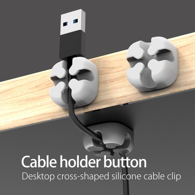 Mobile Phone Data Cable Organizer Silicone USB Cable Winder Protector Cable Management Clip Cable Holder For Mouse Earphone Wire