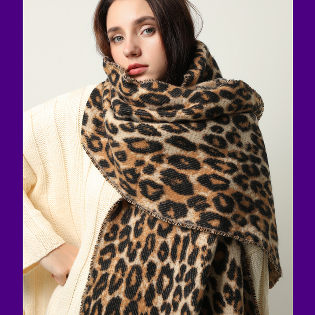 Design winter thick scarf for women blanket tassel lady shawls and wrap animal leopard print cashmere scarves pashmina foulard