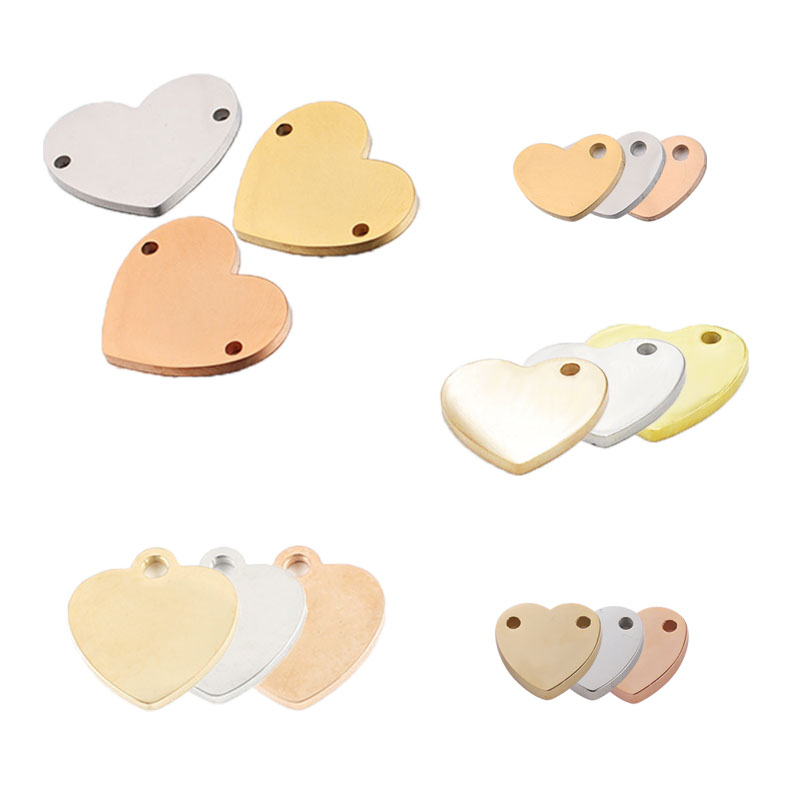 10Pcs Gold Plated Engraving Necklace Bracelet Blanks Lots Heart Stainless Steel Heart-Shaped Charms DIY Jewelry Making Component