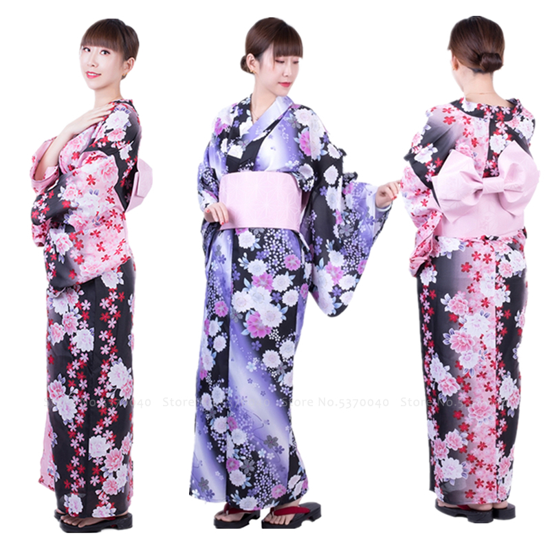 Traditional Japanese Yukata Kimono Party Wedding Formal Dress For Women Haori Floral Robes Anime Cosplay Costumes Asian Clothes