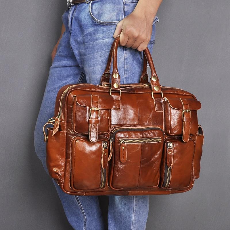 H477e4a2977d44ce9b19e61dc3d64f174W Original leather Men Fashion Handbag Business Briefcase Commercia Document Laptop Case Design Male Attache Portfolio Bag 3061-bu