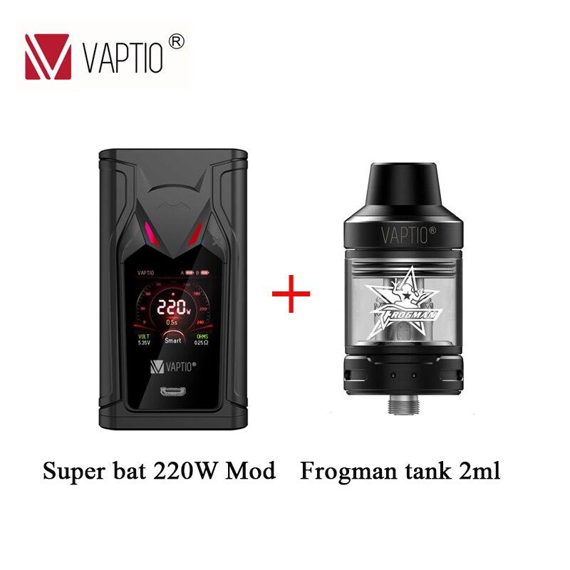 Cigarette électronique 220W mod Original VAPTIO SUPER BAT Vape boîte Mod puissance par 2pc 18650 Batteries adapter 510 réservoir de fil
