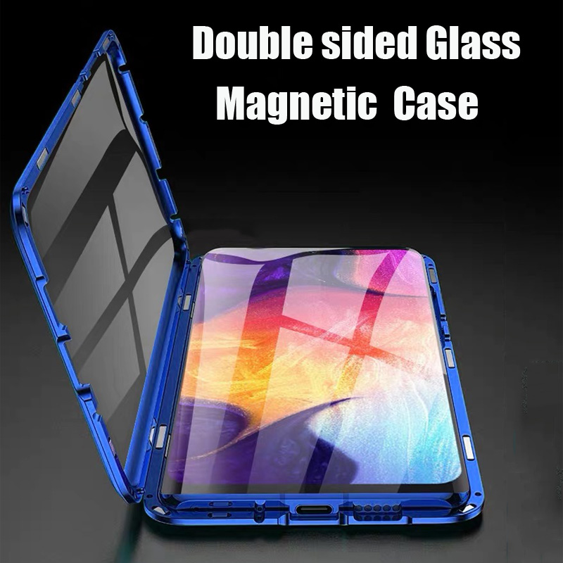 Magnetic Metal Case For Samsung Galaxy S10 Lite S9 S8 Plus Note 10 Pro 9 8 A7 2018 A50 A60 A70 Double Side Tempered Glass Cover