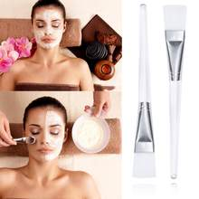Transparent Weiche Maske Pinsel Kunststoff Griff Hautpflege Make-Up Pinsel Flach Kopf Faser Haar Schönheit Make-Up-Tool(China)