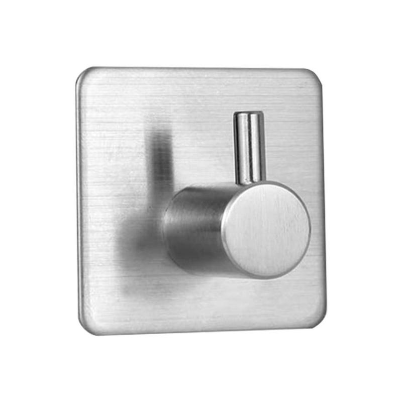 2/4/6pcs Stainless Steel Wall Hooks Round/Square Self-adhesive Bathroom Towel Hooks Wall Mount Kitchen Accessories