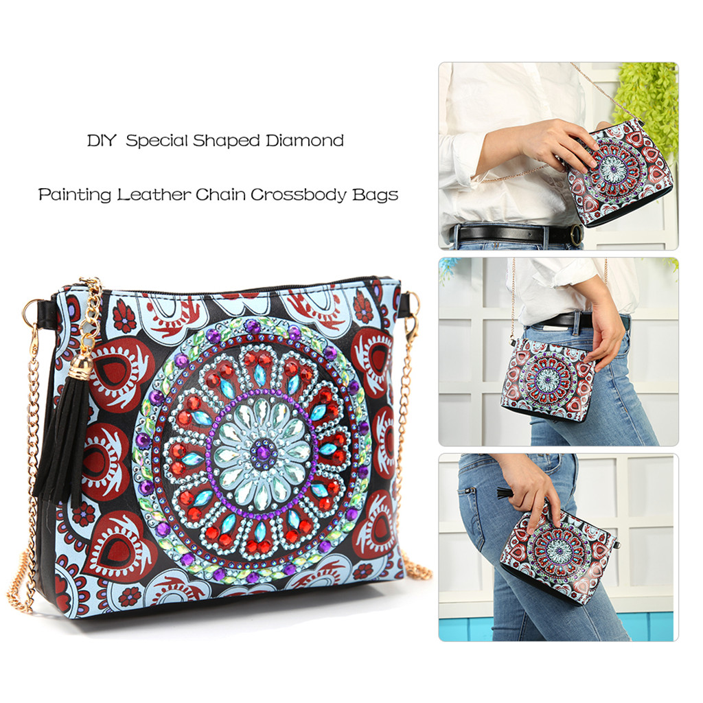 New DIY LED Diamond Painting Backpack Cross Stitch Mandala Diamond Embroidered Shaped Home Decoration Christmas