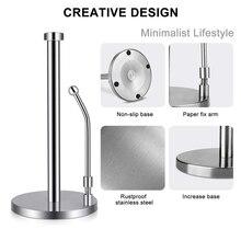 Soporte para papel de cocina de pie de acero inoxidable con una sola mano, diseño moderno perfecto para cocinas