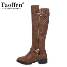 Taoffen 2021 nueva llegada botas sobre las rodillas para mujer moda cremallera hebilla tacón grueso zapatos de invierno mujer bota larga calzado tamaño 33-43
