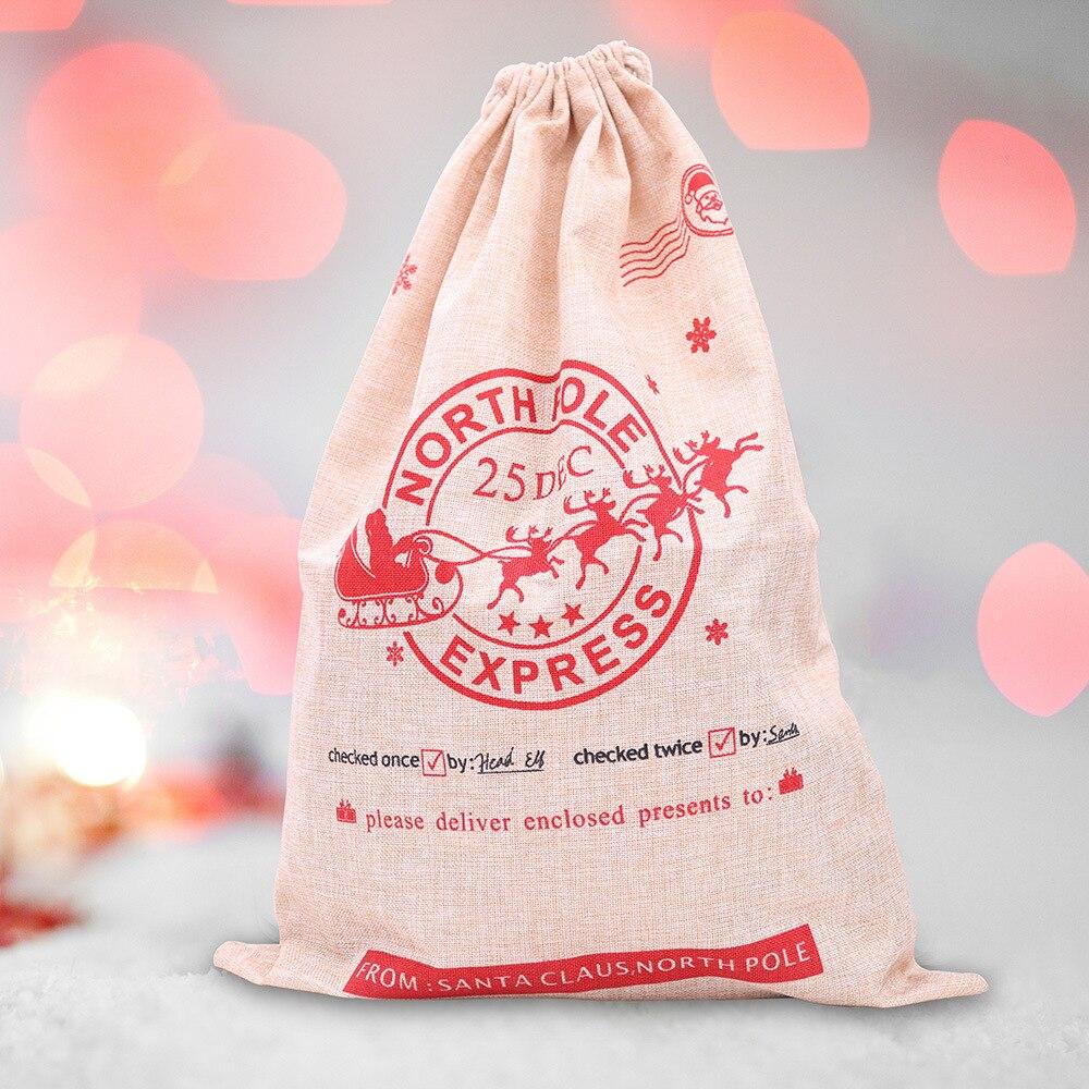 Новые рождественские украшения, льняная Подарочная сумка с рождественским принтом, сумка для конфет Санта-Клауса, сумка для яблока