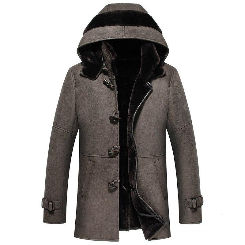 Natural Sheep Shearling Jacket Winter Genuine Leather Jacket Men Hooded Long Sheepskin Coat Real Fur Jackets 2020 4959 KJ3642