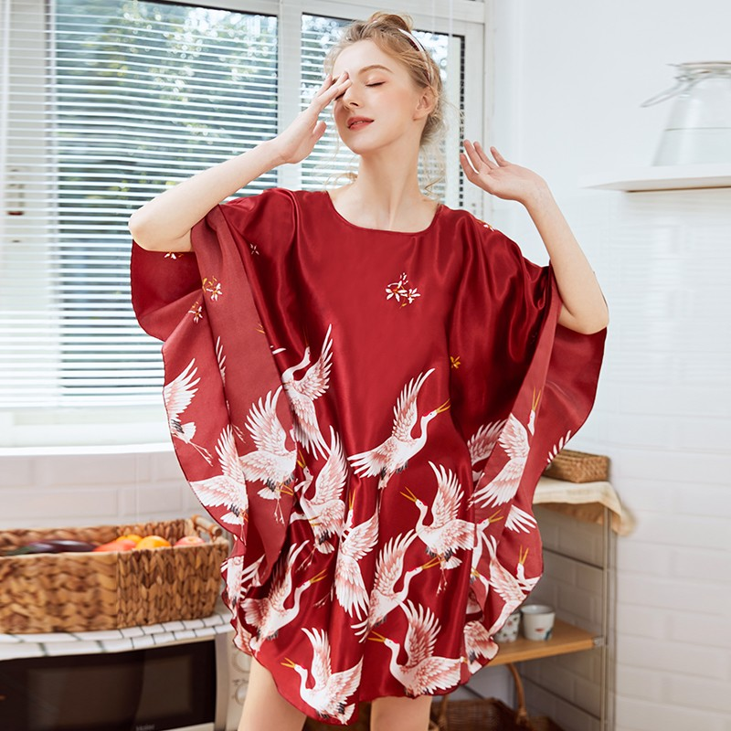 New Style Chinese Women's Faux Silk Bath Robe Gown Casual Bat Sleeve Kimono Kaftan Gown Summer Plus Size Nightgown Sleepwear