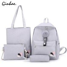 Canvas Backpack Flower Embroidery Girls Rucksack Shoulder-Bag Large-Capacity Female Student