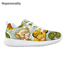 Nopersonality Cute Cartoon Lion King Print Children Sneakers Comfortable Autumn Light Lace-up Flats for Boys Girls Running Shoes