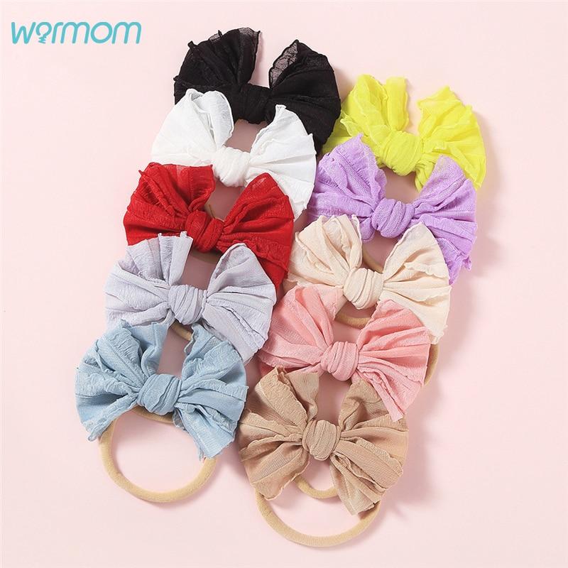 Warmom Baby Girls Lace Bowknot Headband Headwear Infant Princess Elastic Bandeau Hair Accessories Kids Fashion Cute Hairband