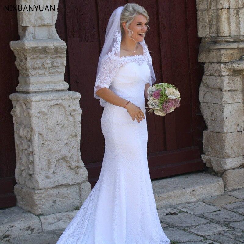Robe De Mariee Lace Mermaid Wedding Dresses Off The Shoulder Half Sleeves Beach Bridal Dresses Wedding Gown Vestidos De Novia