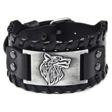 Ybollar Vintage Male Black Brown Wolf Head Cowhide Leather Bracelet Men Wide Bracelets Cuff Bangles Punk Rock Style Jewelry